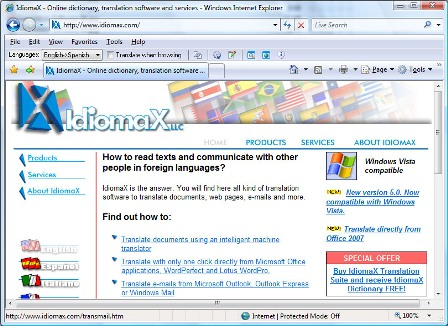 Click to view IdiomaX Web Translator 6.00 screenshot